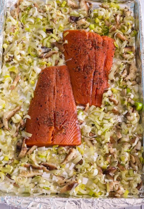 Roasted Salmon with Leek, Shiitake and Arugula Salad