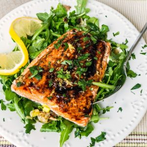 Roasted Salmon with Leek, Shiitake, and Arugula Salad