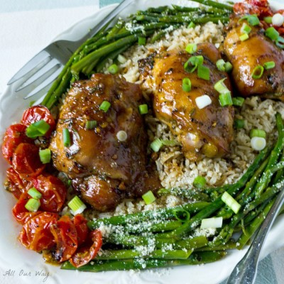 Honey Soy Garlicky Baked Chicken Thighs