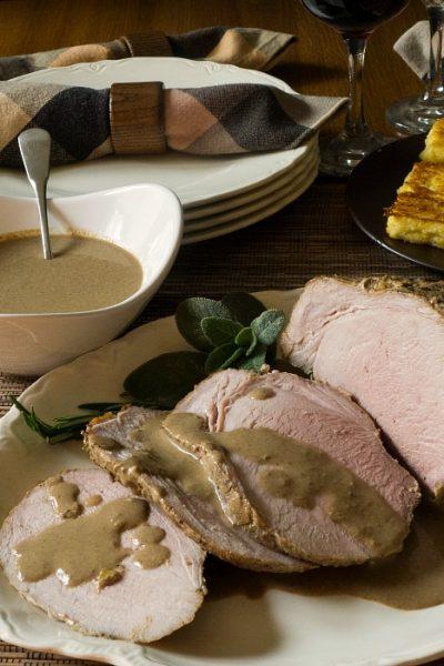 Italian Pork Roast Braised with Milk and Fresh Herbs {Maiale al Latte}