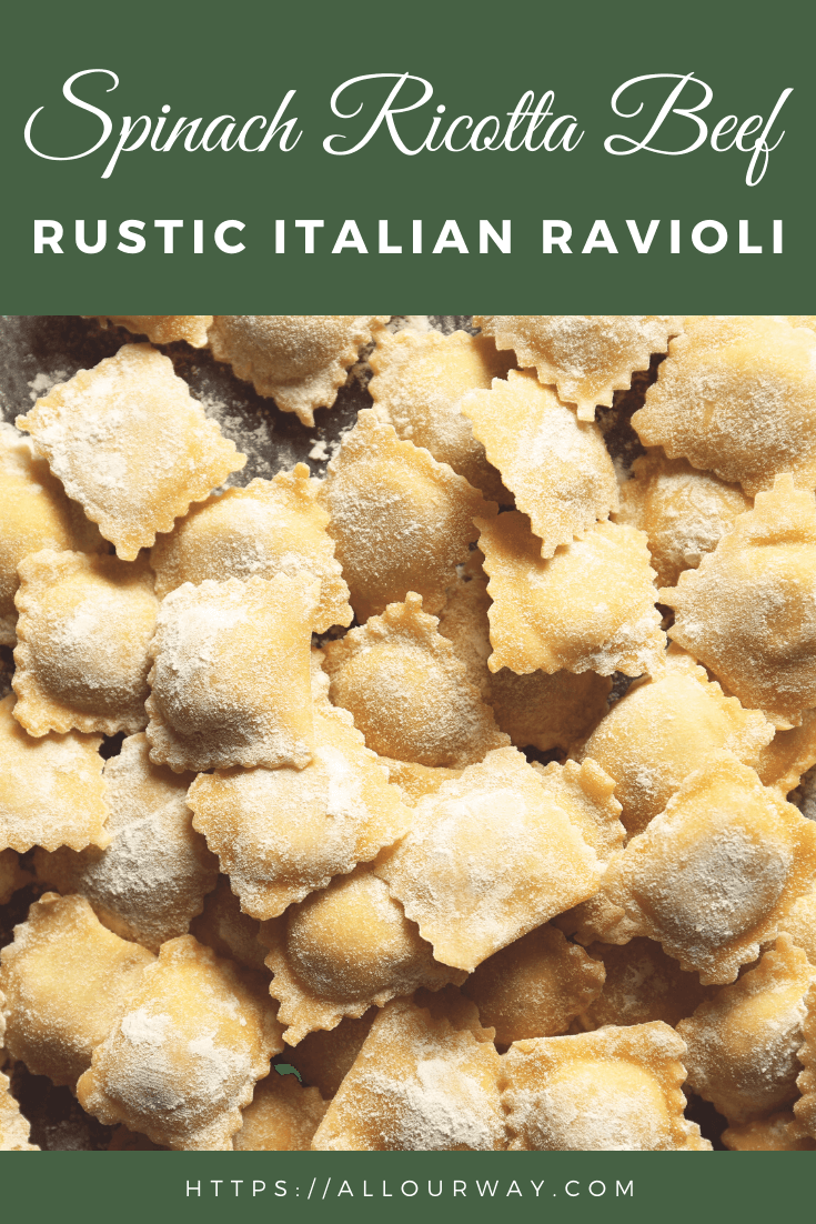 A cheesy beef spinach filling that can be used for ravioli or other pasta such as manicotti or large shells. Makes a lot so you have plenty for all of your favorite filled pastas. You can even use it for lasagna. #raviolifilling, #pastafilling, #beefcheesepastafilling, #spinachcheeseraviolifilling, #manicottifilling, #rusticravioli, #italianravioli, #lasagnafilling