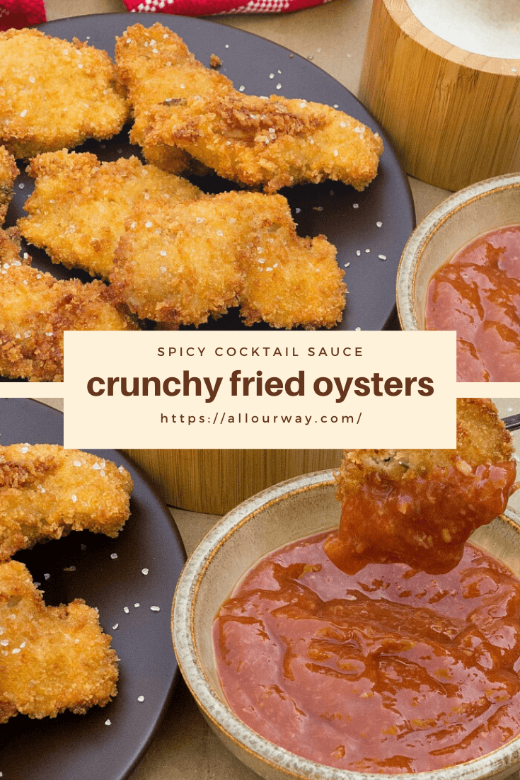 Crispy deep-fried oysters are panko-coated for an amazingly tasty holiday appetizer. The delicious bites are served with a homemade spicy cocktail sauce that everyone can't get enough of - serve it and see them disappear before you even put the platter down. #oysters, #oysterappetizer, #friedoysters, #cocktailsauce, #seafoodappetizer, #appetizers, #holidayappetizer