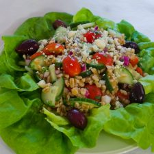 Mediterranean Grain Salad with Gorgonzola is a light summery salad with farro as the grain @allourway.com