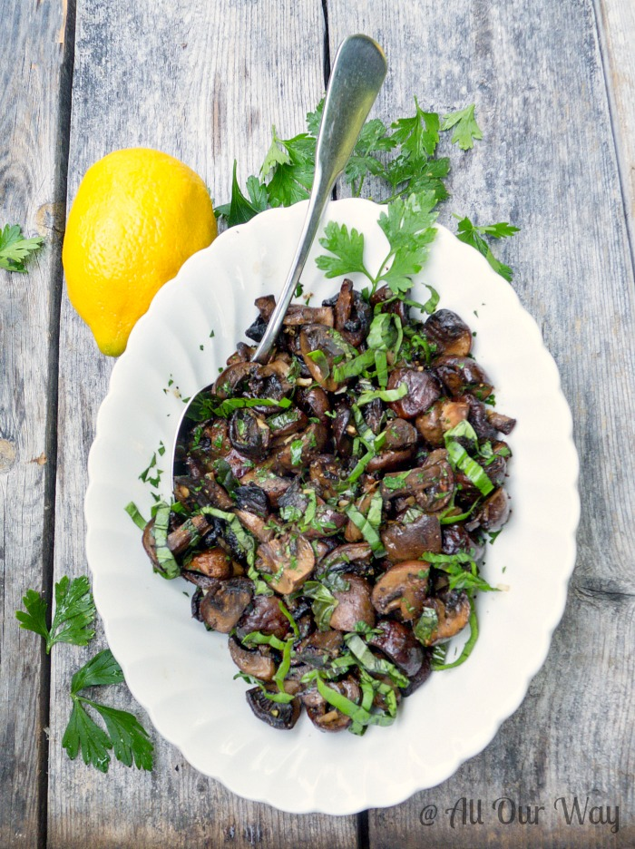 Lemon Herb Roasted Mushrooms Recipe takes on an Italian flavor @ allourway.com