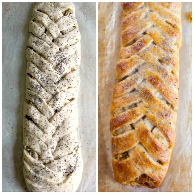 Cheese and Caramelized Onion Braid fast and easy with prepared pizza crust @allourway.com