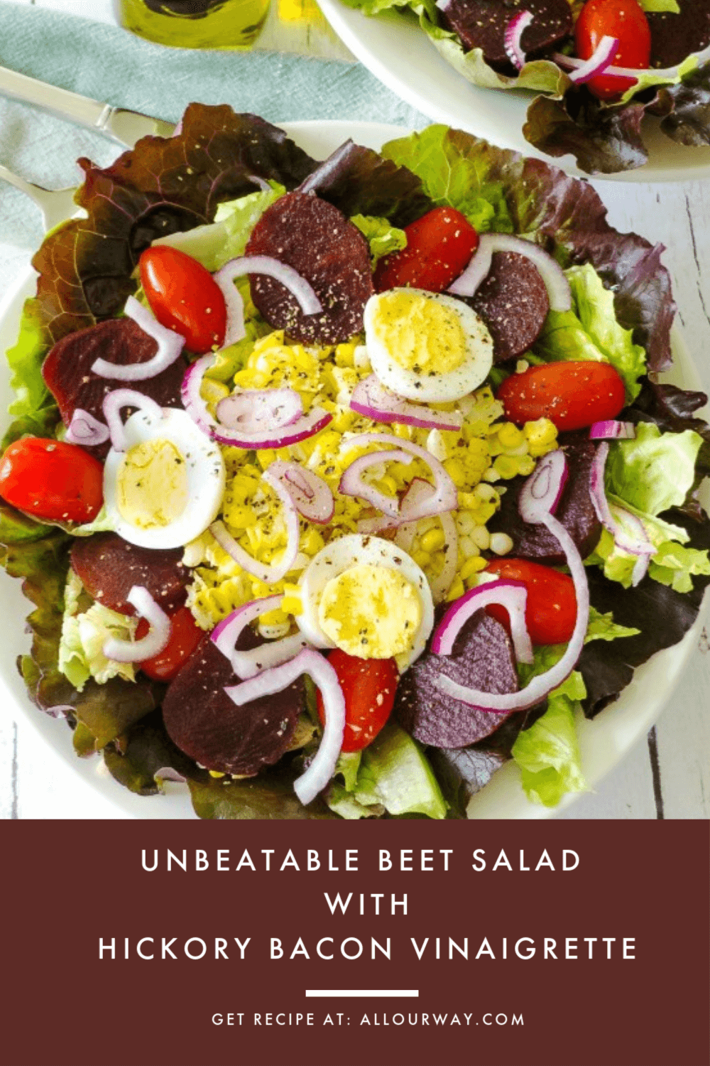 A salad that not only tastes good but is packed with nutrition. Beets are almost a magical vegetable that brings so much goodness to our bodies. The vinaigrette we selected compliments the earthy taste of the salad. It's a family favorite. #salad, #summersalad, #beetsalad, #dietsalad, #healthysalad, #nutritioussalad, #completesalad, #dinnersalad, #healthysalad, #lunchsalad, #baconvinaigrette, #lightvinaigrettedressing