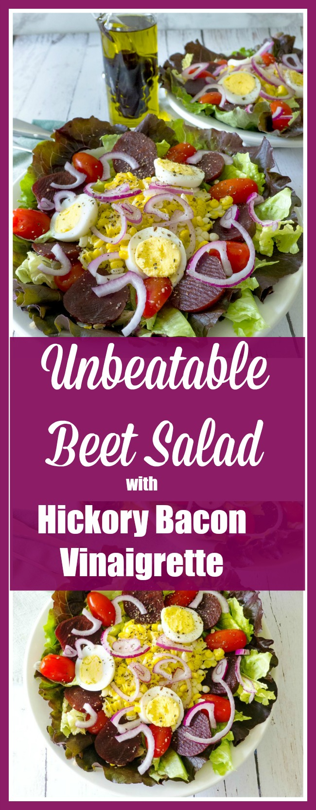 Unbeatable Beet Salad with Hickory Bacon Vinaigrette includes grilled corn, radishes, purple onions served on a lettuce bed and dressed with a hickory bacon vinaigrette @allourway.com