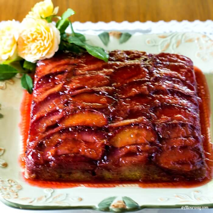 Italian Plum Torte with Tantalizing Plum Glaze is an incredible upside down buttery fruit cake. @allourway.com