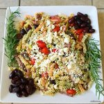 Mediterranean Herb Antipasto Pasta Salad Platter- a taste of Souther Italy at the Birthday Fish fry.@allourway.com