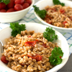 One-Pan Italian Farro with Tomatoes Plated @allourway.com
