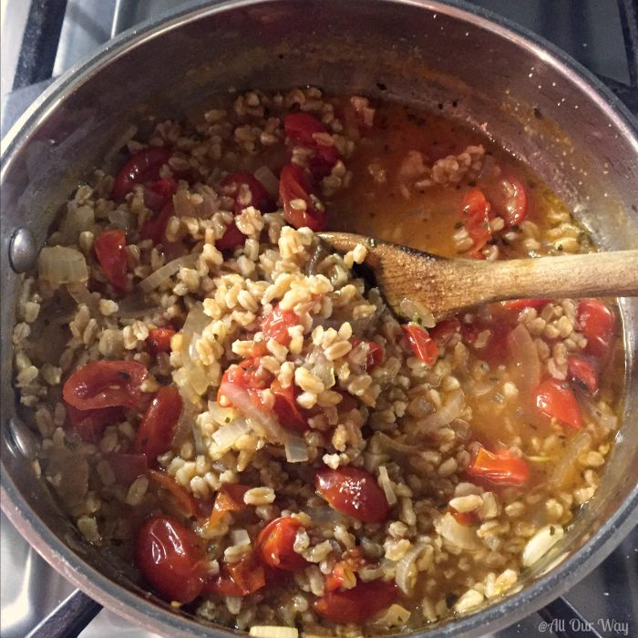 One-Pan Italian Farro with Tomatoes cooking in pan @allourway.com