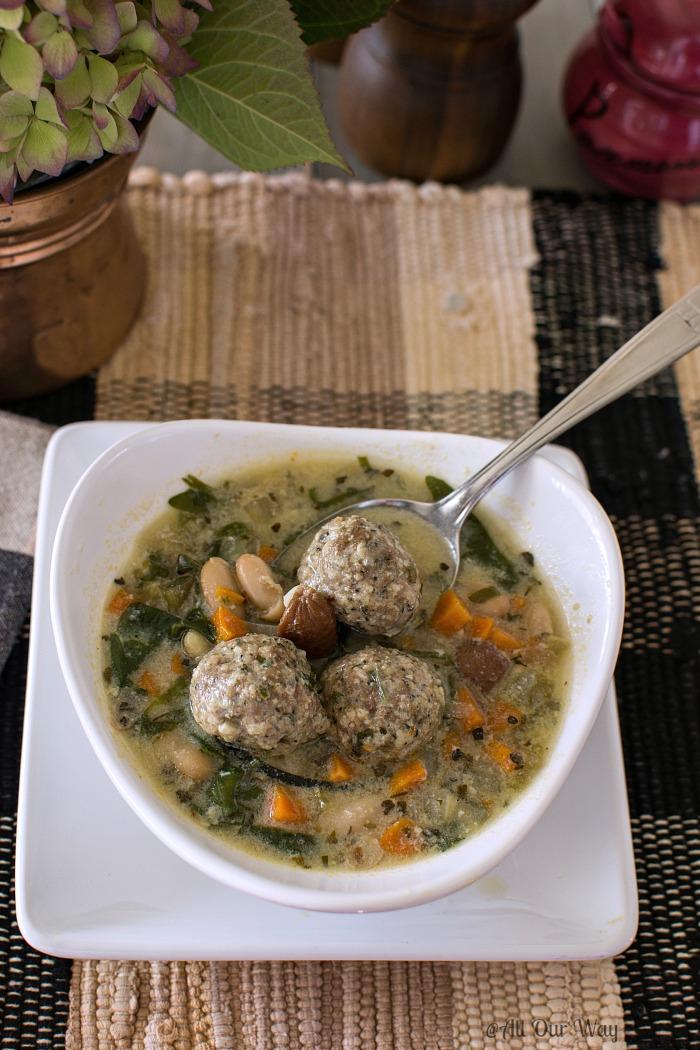 Quick Italian Wedding Soup with Meatballs @allourway.com