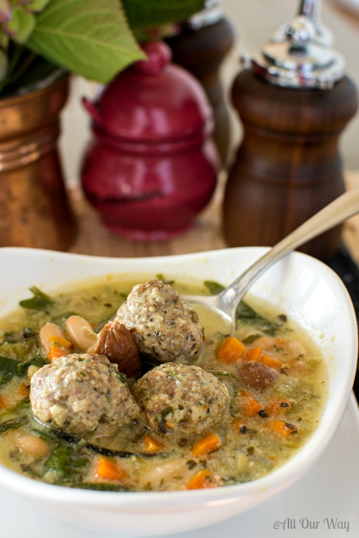 Quick Italian Wedding Soup with Meatballs @allourway.com