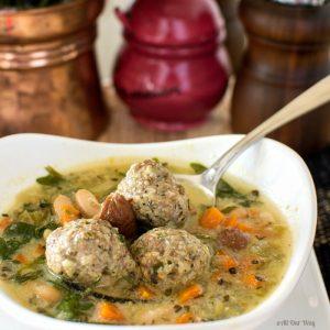 Quick Italian Wedding Soup with Meatballs and Arugula @allourway.com