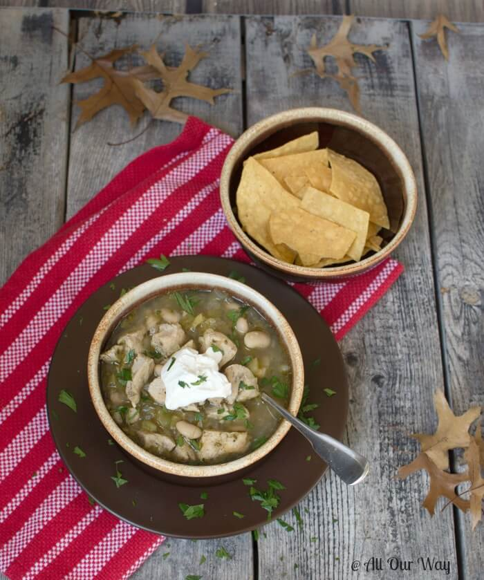 Wickedly Good Spicy White Chicken Chili with cilantro and lime @allourway