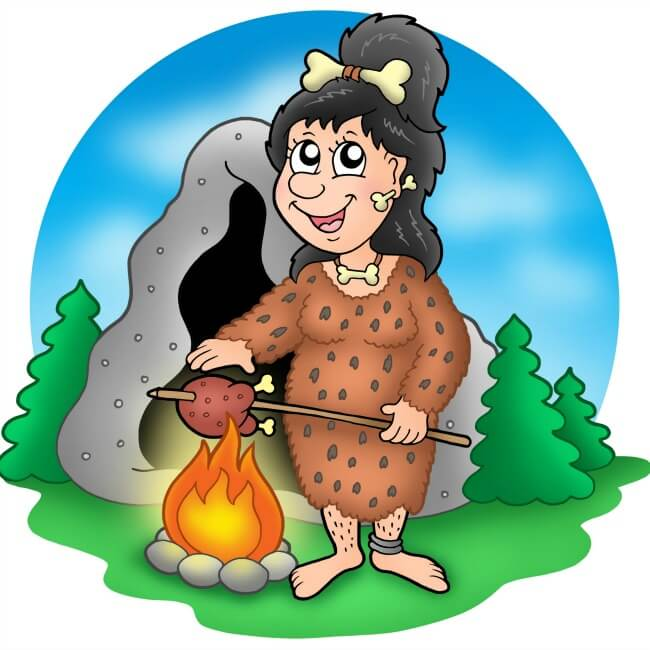 Cartoon of Cave Woman Dreaming of Cooking Beef Stew