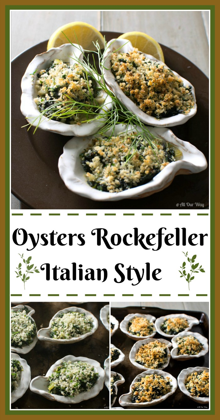 Oysters Rockefeller Italian Style is an elegant and easy appetizer @allourway.com