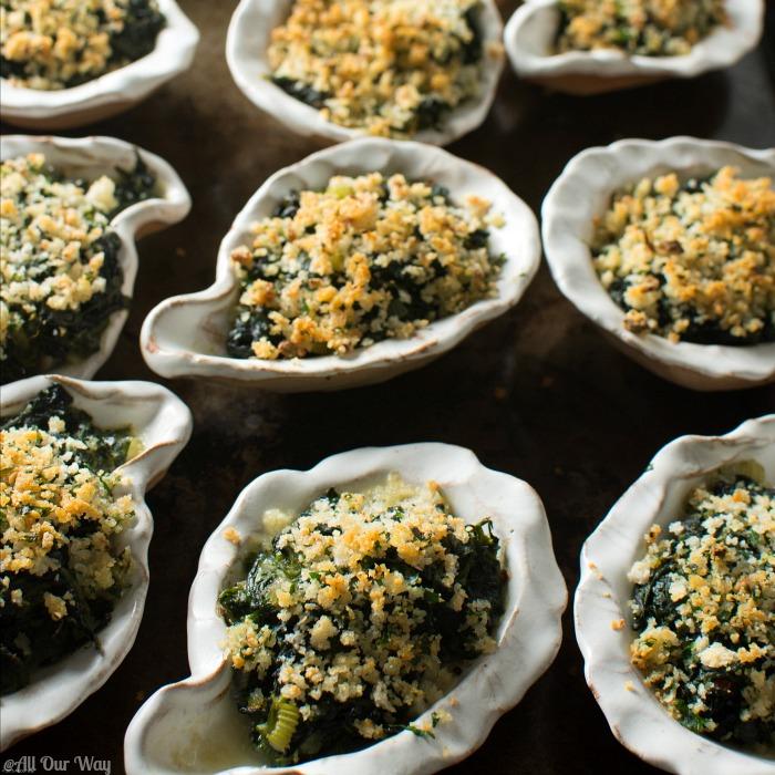 Oysters Rockefeller Italian Style is an easy elegant appetizer @allourway.com