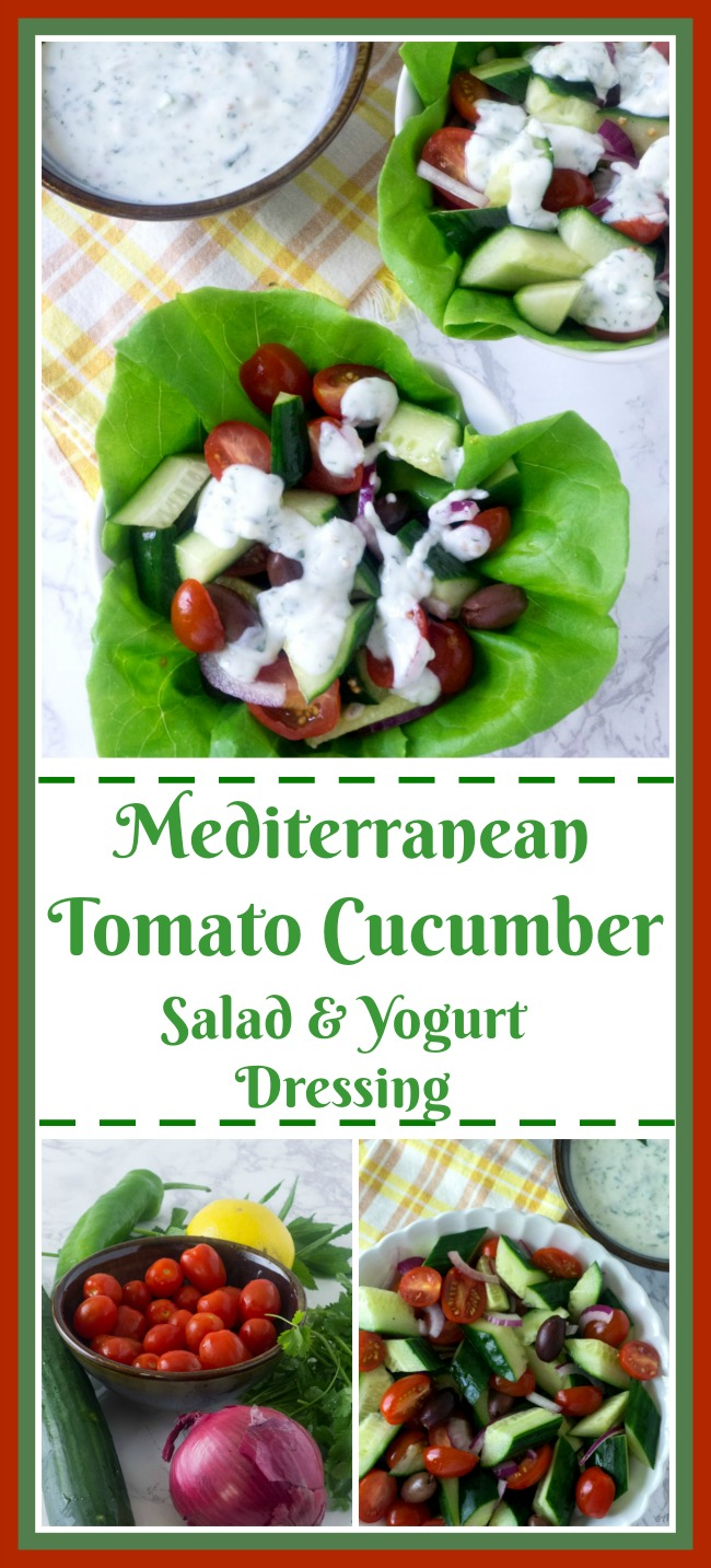 Mediterranean Tomato Cucumber Salad with Spicy Yogurt Dressing @ allourway.com