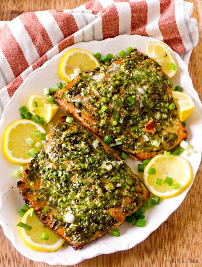 Grilled Italian Pesto Salmon 30 Minutes Start to Finish