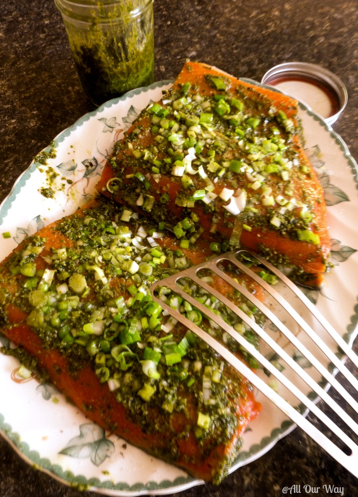 Grilled Italian Pesto Salmon is on the table in 30 minutes. Easy and delicious @allourway.com