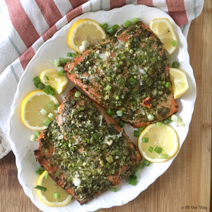 Grilled Italian Pesto Salmon is a quick and delicious dish that is on the table in 30 minutes @allourway.com