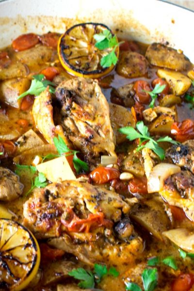 One-Pan Italian Garlic Lemon Chicken Bake-A Complete Meal