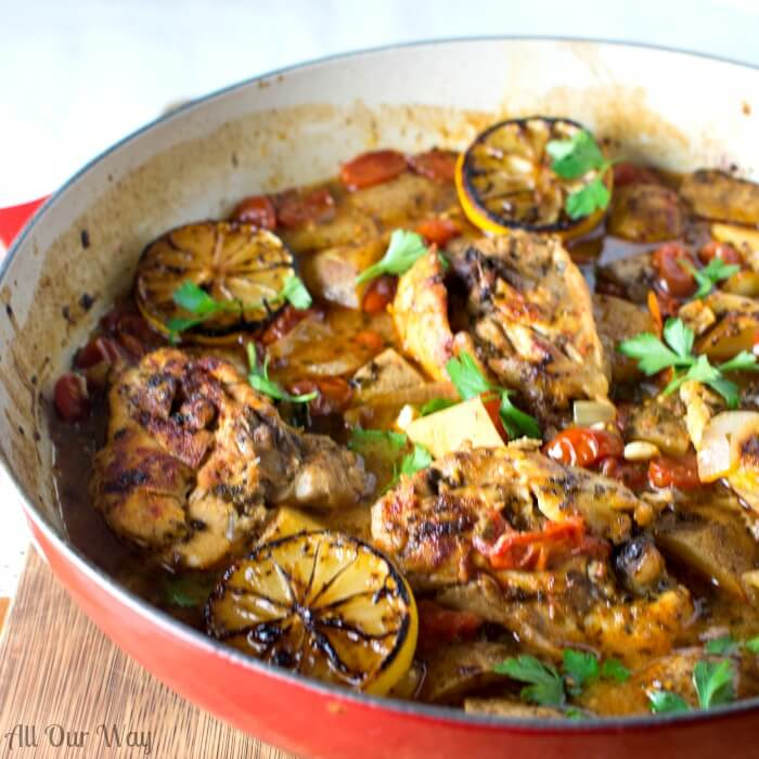 One pan Italian Garlic Lemon Chicken with Fennel and Potatoes @allourway.com