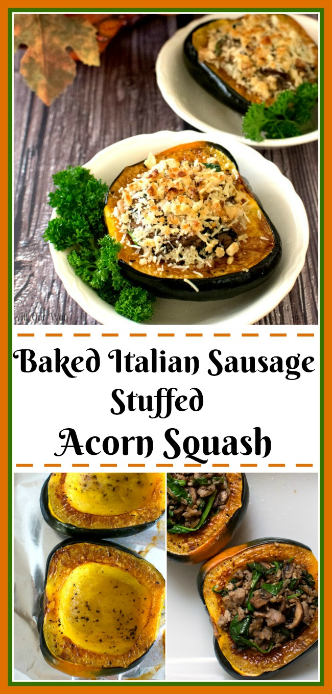 Baked Italian Sausage Stuffed Acorn Squash with Mushrooms @allourway.com