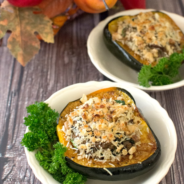 Baked Italian Sausage Stuffed Acorn Squash with Mushrooms @ allourway.com