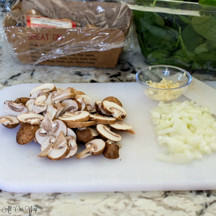 Ingredients for the best baked spinach gratin a streamlined Julia Child recipe.