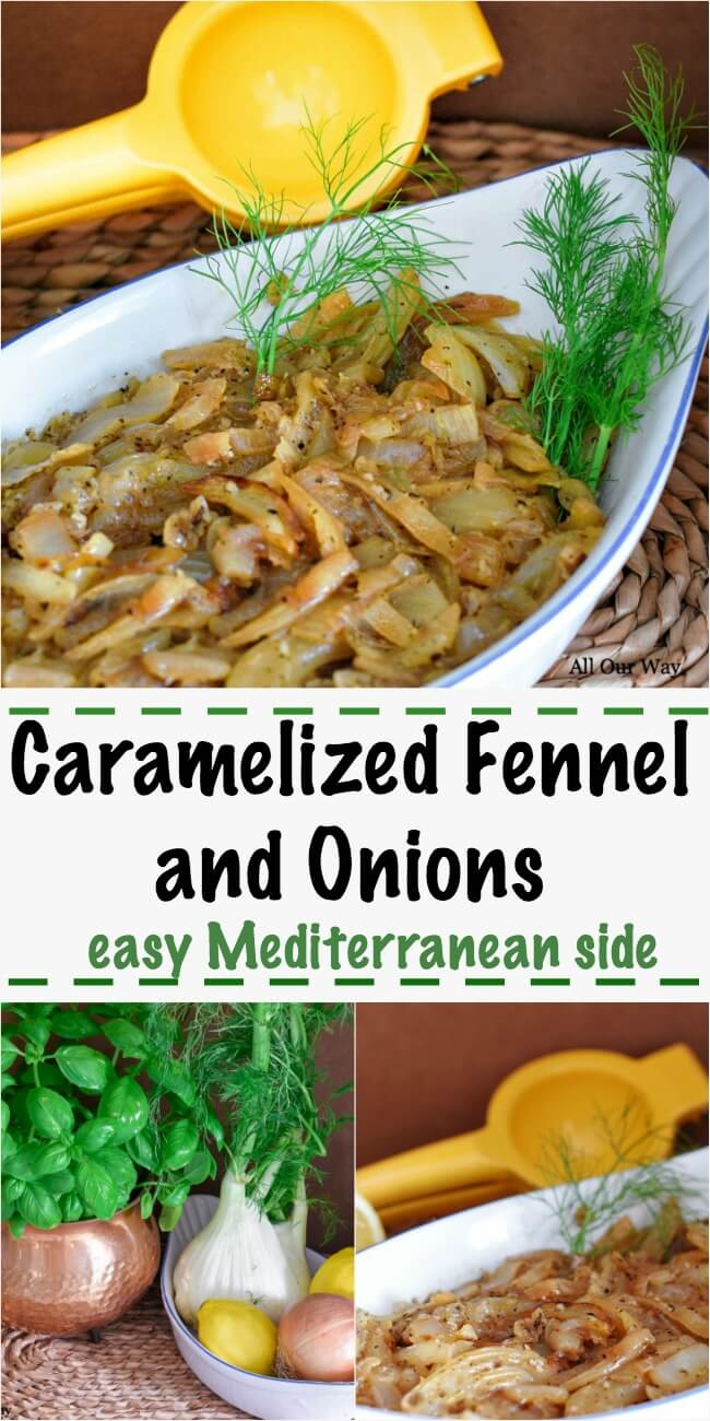 Caramelized Fennel Bulb and Onions is an easy and incredibly delicious Mediterranean vegetable side that compliments any meat and can also be used as a crostini topping.