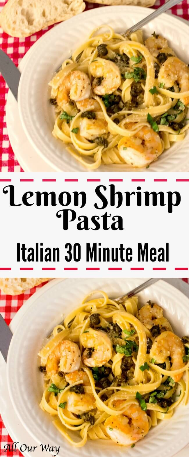 Lemon Shrimp Pasta is a healthy seafood pasta dish that comes together in 30 minutes. It's low calorie but full of the flavors of lemon, parmesan, basil and capers.