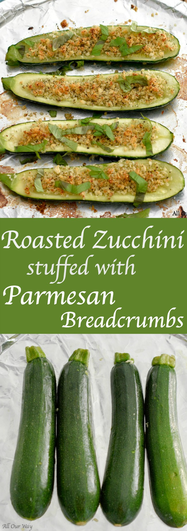 Roasted Zucchini Stuffed with Parmesan Breadcrumbs is an easy vegetable side that is loaded with flavor and texture. Can be prepared ahead then roasted before serving.