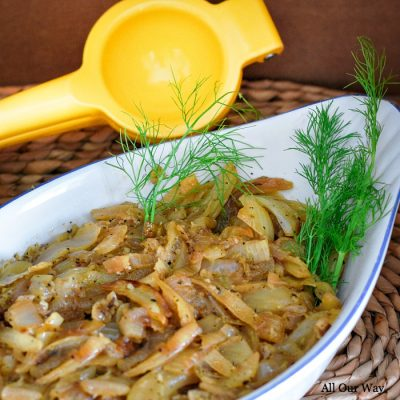 Caramelized fennel and onion is an easy and incredibly delicious Mediterranean vegetable side.