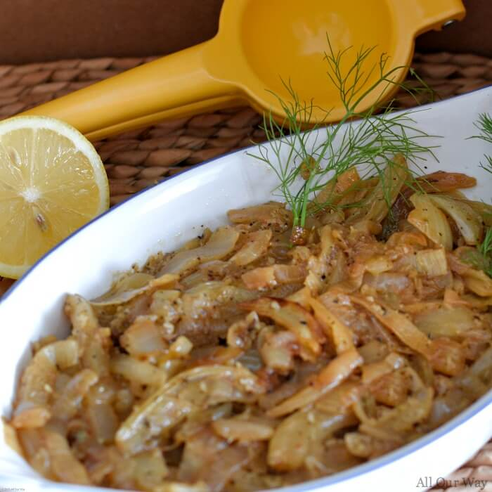 Caramelized fennel bulb and onion is an easy Mediterranean side that compliments any meat and can also a crostini topper.