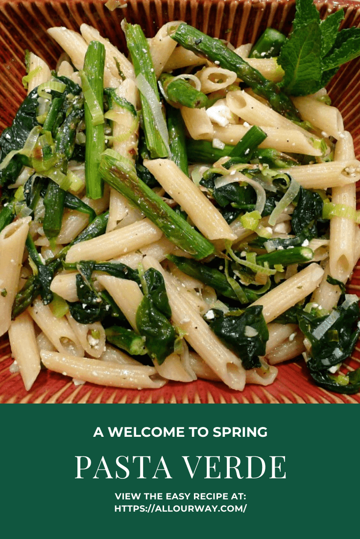 A spring dish that is loaded with delicious greens. The asparagus is roasted for optimum flavor and the leeks and spinach is quickly sautéd. A little cheese for some additional flavor makes this pasta dish a fantastic welcome to spring. #pennepasta, #springtimepastadish, #pastaverde, #mintdressing, #lightpastadish, #vegetablepastarecipe, #roastedasparagus