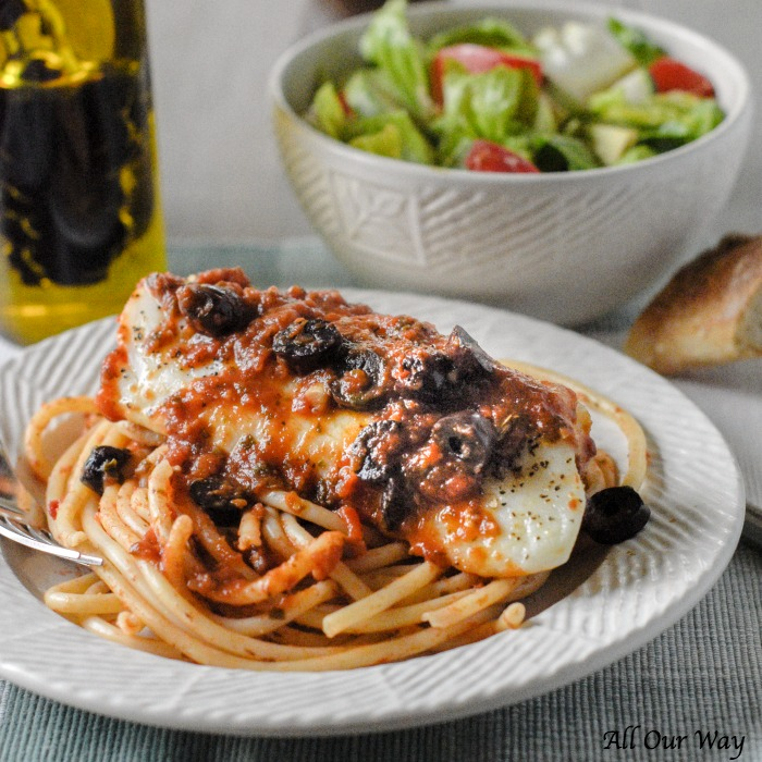 Baked Cod Puttanesca is a quick and easy recipe that cooks fillets in a spicy tomato sauce that's boosted with kalamata olives, capers, and red pepper flakes.