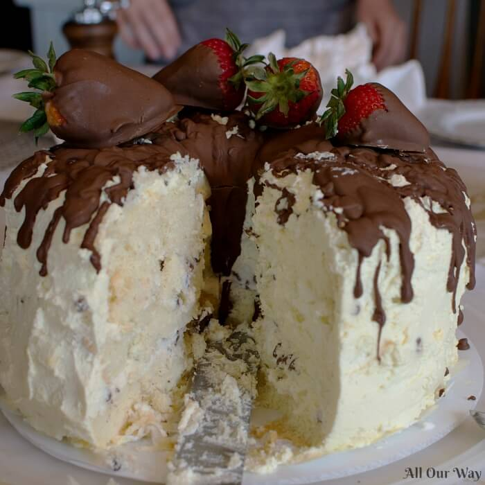 Cannoli Cake With Whipped Cream And Chocolate Covered
