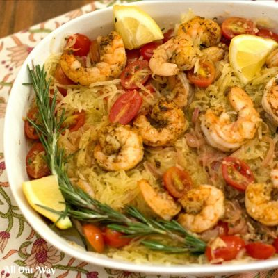 Sautéed Shrimp with Rosemary Tomato Spaghetti Squash