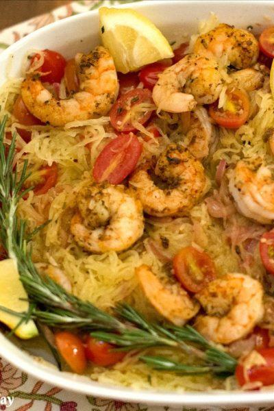 Sautéed Shrimp with Rosemary Tomato Spaghetti Squash