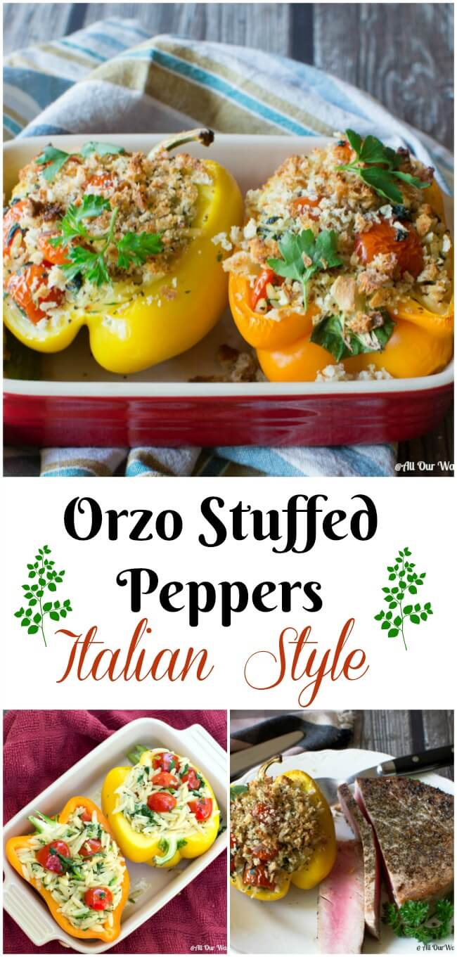 Orzo Stuffed Peppers Italian Style with Spinach and Grape Tomatoes. Crunchy breadcrumbs top the peppers.