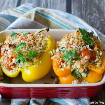 Orzo stuffed peppers Italian style with spinach and grape tomatoes