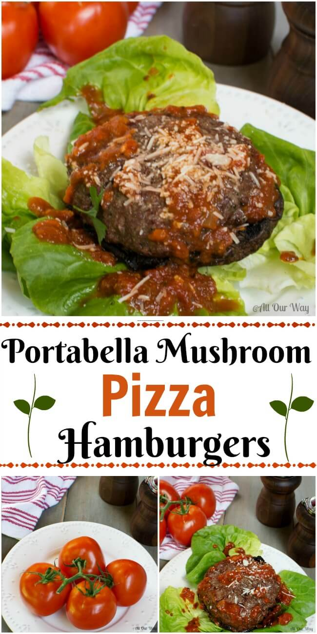 Portabella Mushroom Pizza Hamburgers with Tangy Pizza Sauce makes a delicious unbranded sandwich that is delicious and low calorie.