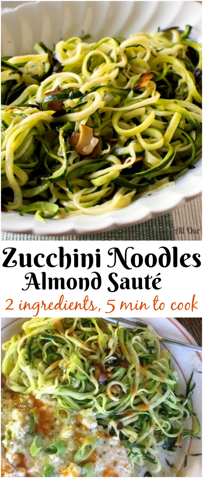Collage of Zucchini Noodles Almond Sauté in a white fluted glass oblong bowl.