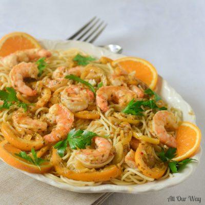 One Pan Lemon Orange Shrimp A Citrusy Touch of Capri. A light pasta dish that's full of flavor.
