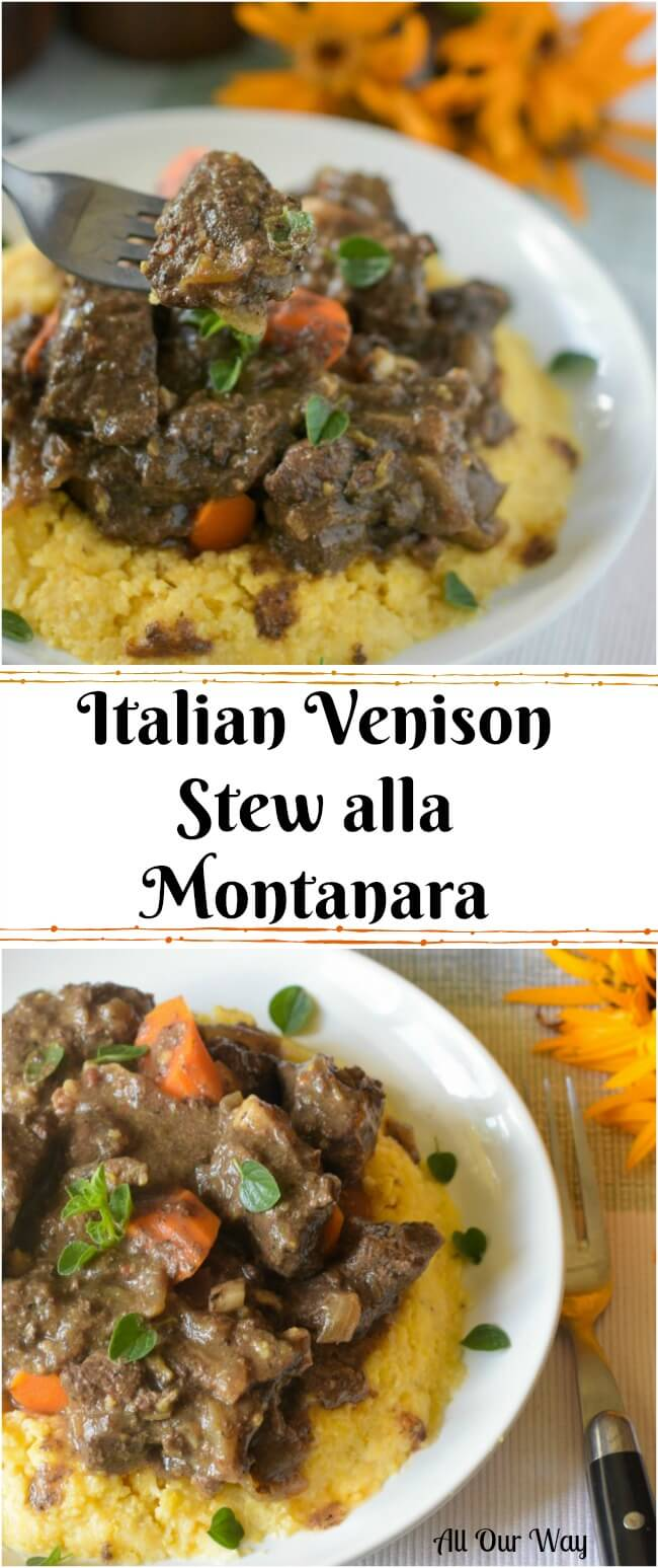 Italian Venison Stew Alla Montanara is a hearty deer stew made with red wine, porcini mushrooms, and bacon.#venison, #venison_stew, #stew, Italian_stew, #hearty_dish, #Fall_dish, #deer_recipe, #venison_recipe, #polenta,#deer_stew,#main_dish,#meat_dish