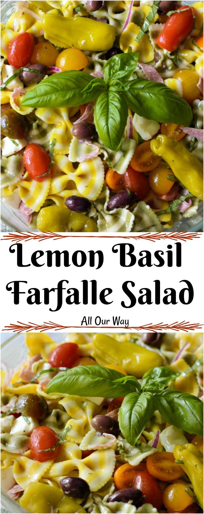 Lemon Basil Farfalle Salad an Italian pasta salad celebrating the tastes of summer.