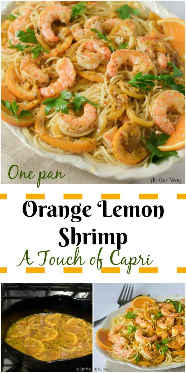 One Pan Orange Lemon Shrimp a Touch of Capri. A light seafood dish that is easy and delicious. Quick for a weeknight, elegant enough for company.
