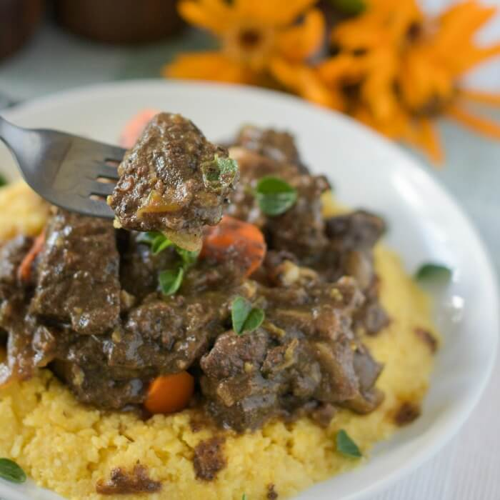 Italian venison stew alla Montanara is a hearty stew made with red wine and porcini mushrooms and flavored with bacon.